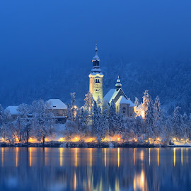Winter Evening on Bled by Miro Zalokar - Buildings & Architecture Other Exteriors
