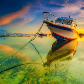 A White Boat by Bayu Adnyana - Transportation Boats ( balilandscaper, lowtide, sunrise, boat, landscape )