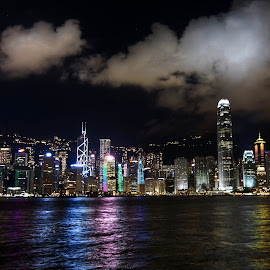 by Shalabh Sharma - City,  Street & Park  Skylines ( avenue of stars, hong kong, skyline, victoria harbour, night )