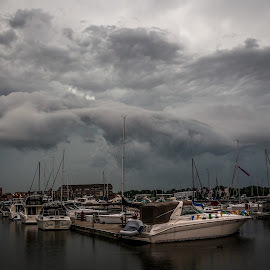 Storm Rolling In  by David Konieczko - Landscapes Cloud Formations ( clouds, lake michigan, cloudscape, boats boating, storm )