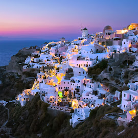 Oia, Santorini, Greece. by Greg Gibb - Landscapes Travel ( eu, europe, sunset, mediterranean, greece, caldera, travel, oia, dusk, santorini, island )