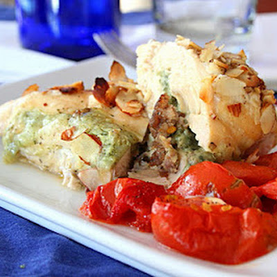 Cheesy Sausage and Basil Stuffed Chicken Breasts