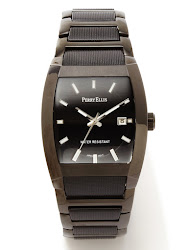 Perry Ellis Round Black Leather Band Watch