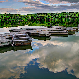 Heavenly Lake by John Larson - Landscapes Waterscapes ( clouds, boats, trees, reflections, forest, lake, dock )