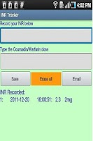 Screenshot of INR Tracker (Warfarin log)