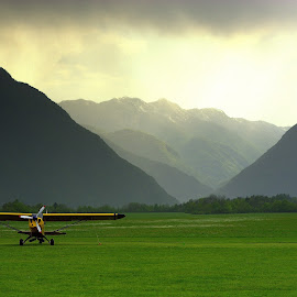Plane in the meadow by Matevz Skerget - Transportation Airplanes ( plane, fog, meadow, transportation )