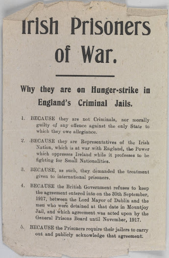 Leaflet highlighting hunger-strikers
