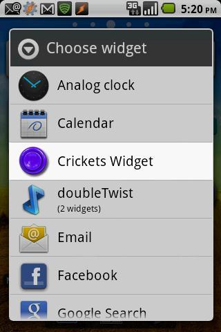 Instant Crickets Widget