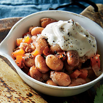 Simmered Pinto Beans with Chipotle Sour Cream