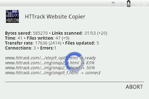 Screenshot of HTTrack Website Copier