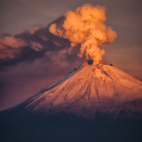Eruption in the morning by Cristobal Garciaferro Rubio - Landscapes Mountains & Hills ( volcano, morning, snowy volcano, smoking volcano, eruption, smoke )