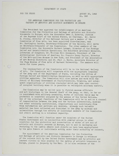 State Department press release announcing President Roosevelt's establishment of the American Commission for the Protection and Salvage of Artistic and Historic Monuments in Europe (also known as the Roberts Commission).