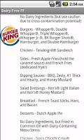 Screenshot of Dairy Free Fast Food