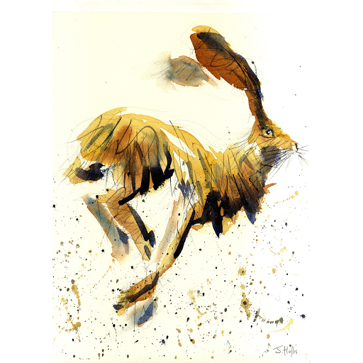 Hare watercolour painting art