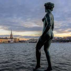 Walk on water by Bojan Bilas - Buildings & Architecture Statues & Monuments ( sweden, statue, stockholm, hdr, monument, city )