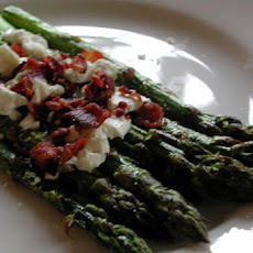 Roasted Asparagus with Goat Cheese and Bacon
