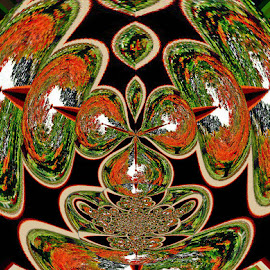 Fall Trees Double Abstracted by Yvonne Collins - Digital Art Abstract ( edited, abstract, digital art, fall trees, photography )