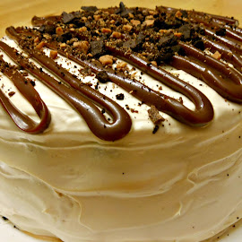 Decadent Dessert  by Betty Doerksen - Food & Drink Candy & Dessert ( dulce de leche, cake, torte, drizzle, white, icing, layer, skor bar, chocolate, oreo, skor, vanilla, dessert, caramel )