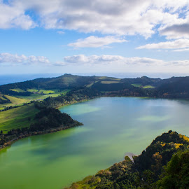 Lake  of Furnas by Ricardo Xavier - Novices Only Landscapes ( clouds, water, green, lake )