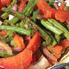 Grilled Green Bean Salad With Red Onions and Tomatoes