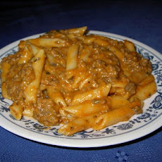 Penne With Cheesy Meat Sauce