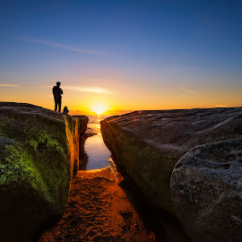 Just Another Day by Heather Allen - Landscapes Sunsets & Sunrises ( water, sand, california, cliff, moss, rock, ocean, beach, dusk, people, coastal, coast, sunset, la jolla, , colorful, mood factory, vibrant, happiness, January, moods, emotions, inspiration )