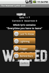 The Wanted Lyrics Quiz - screenshot