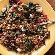 Swiss Chard with Lentils and Feta Cheese