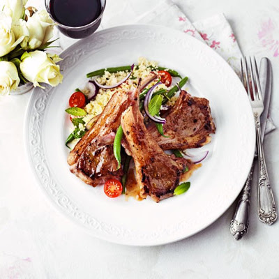 Sticky Fig Lamb Cutlets With Warm Bean & Couscous Salad