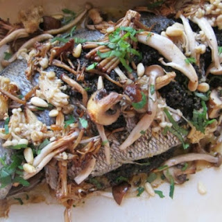 Whole Roast Fish for 2 With Mushroom Pesto and Roasted Wild Mushrooms