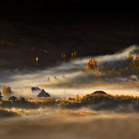 Autumn morning story by Claudiu Guraliuc - Landscapes Travel ( old, church, autumn, sunrise, morning, mist )