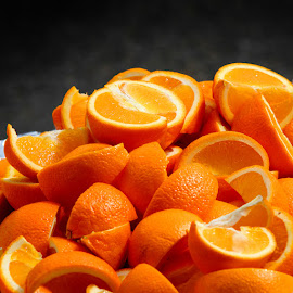 Juicy oranges by Arti Fakts - Food & Drink Fruits & Vegetables ( orange, juicy, mount, sunny, fruits, lot, oranges, parts, cut, artifakts,  )