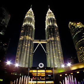 KLCC fountains show at night.. by Pierre Husson - City,  Street & Park  Fountains ( fountains, great moment, night, city park, kuala lumpur,  )