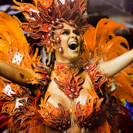 Passita in Orange Feathers  by Samy St Clair - People Portraits of Women ( jewelry, bikini, party, feather, cultural heritage, parade, sexy, samba (brazilian), female body, woman, movement, action, motion, cheerful, dancer, orange, music festival, happiness, fun, gaviões, headdress, sport club corinthians paulista, playing cards, dance, culture, excitement, dancing, latin american and hispanic ethnicity, cultural, sensuality, sex symbol, beauty, school of samba parade, multi colored, traditional culture, girl, gold, samba dancing, sao paulo, carnival, beautiful, sambadrome, women, brazil, red, female, costume, samba school, celebration, competition, traditional festival )