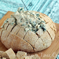 Spinach Dip in a Homemade Bread Bowl