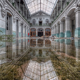 Reflections by Martin Brown - Buildings & Architecture Decaying & Abandoned ( water, canon, urban exploration, europe, ue, hdr, 2014, exploaration, reflections, 10-22, 450d, broken, urbex, school, lycee, arches, glass, derelict, glass roof, pillars, abandoned )