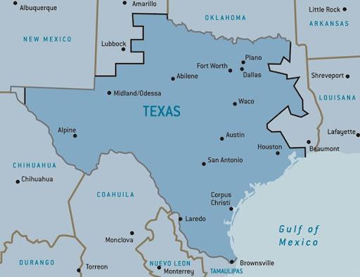 Texas Map 4 Regions