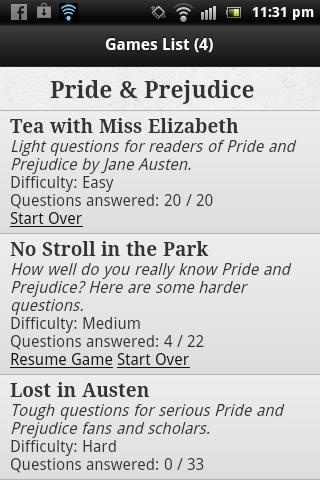 Pride Prejudice Quiz Game