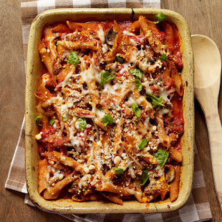 Baked Penne with Turkey, Mushroom and Roasted Pepper Ragu
