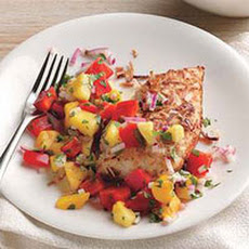 Coconut-Crusted Chicken with Mango Salsa