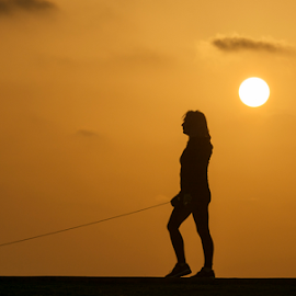 Walking the dog at sunset by Yuval Shlomo - Sports & Fitness Fitness