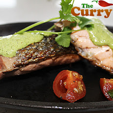 Blackened Salmon With A Coriander And Lime Sauce