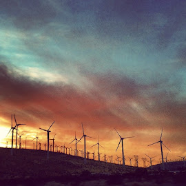 Wind farm. by Andy Chinn - Instagram & Mobile iPhone ( joshuatree, windpower, windturbines, cleanenergy, sunset, cloudporn, skyporn )