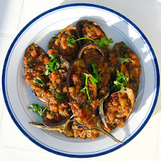 Asian Stuffed Eggplant With Hawaiian-Style Pork (Or Turkey) Hash