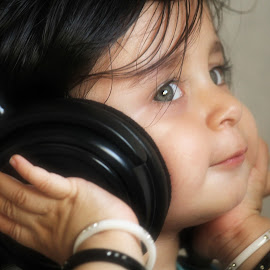 by Saumik Shah - Babies & Children Child Portraits ( music, baby girl, children, portrait, headphone )