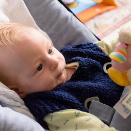First Games by Robert Namer - Babies & Children Child Portraits ( baby portrait, natural light, babies, blond, portraits, natural, baby boy, newborn )