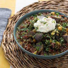 Vadouvan Chickpea & Collard Green Stew with Purple Potatoes & Red Quinoa