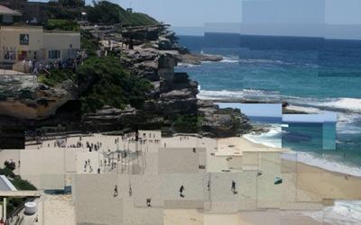 20081017 Sculpture by the Sea   Beach (Hockneyized 2)