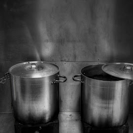 by Damian Dekker - Food & Drink Cooking & Baking ( black and white, cooking, kitchen, restaurant )