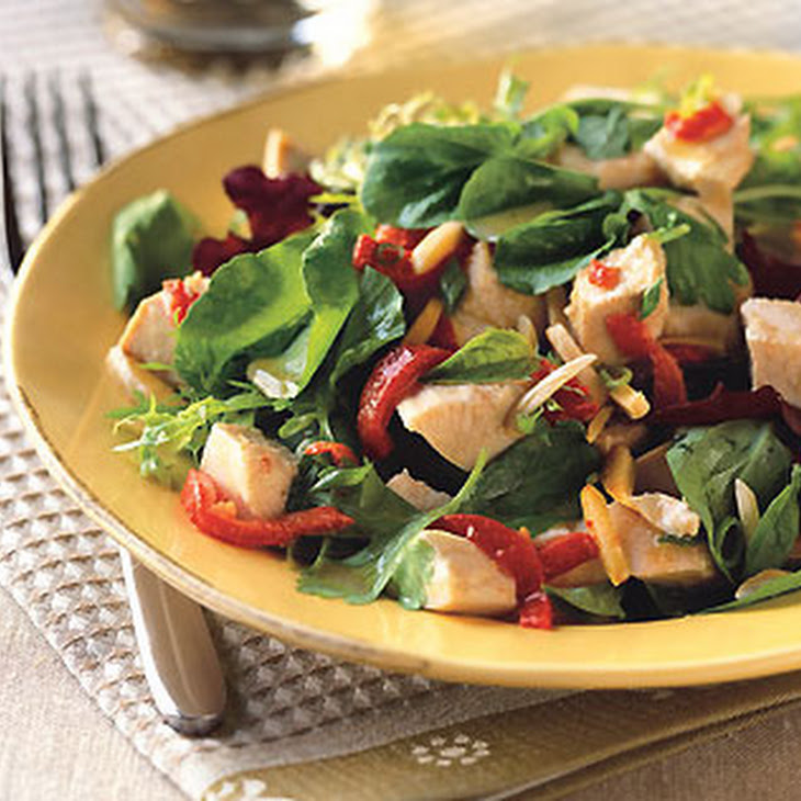 Chicken Salad with Piquillo Peppers, Almonds, and Spicy Greens Recipe ...